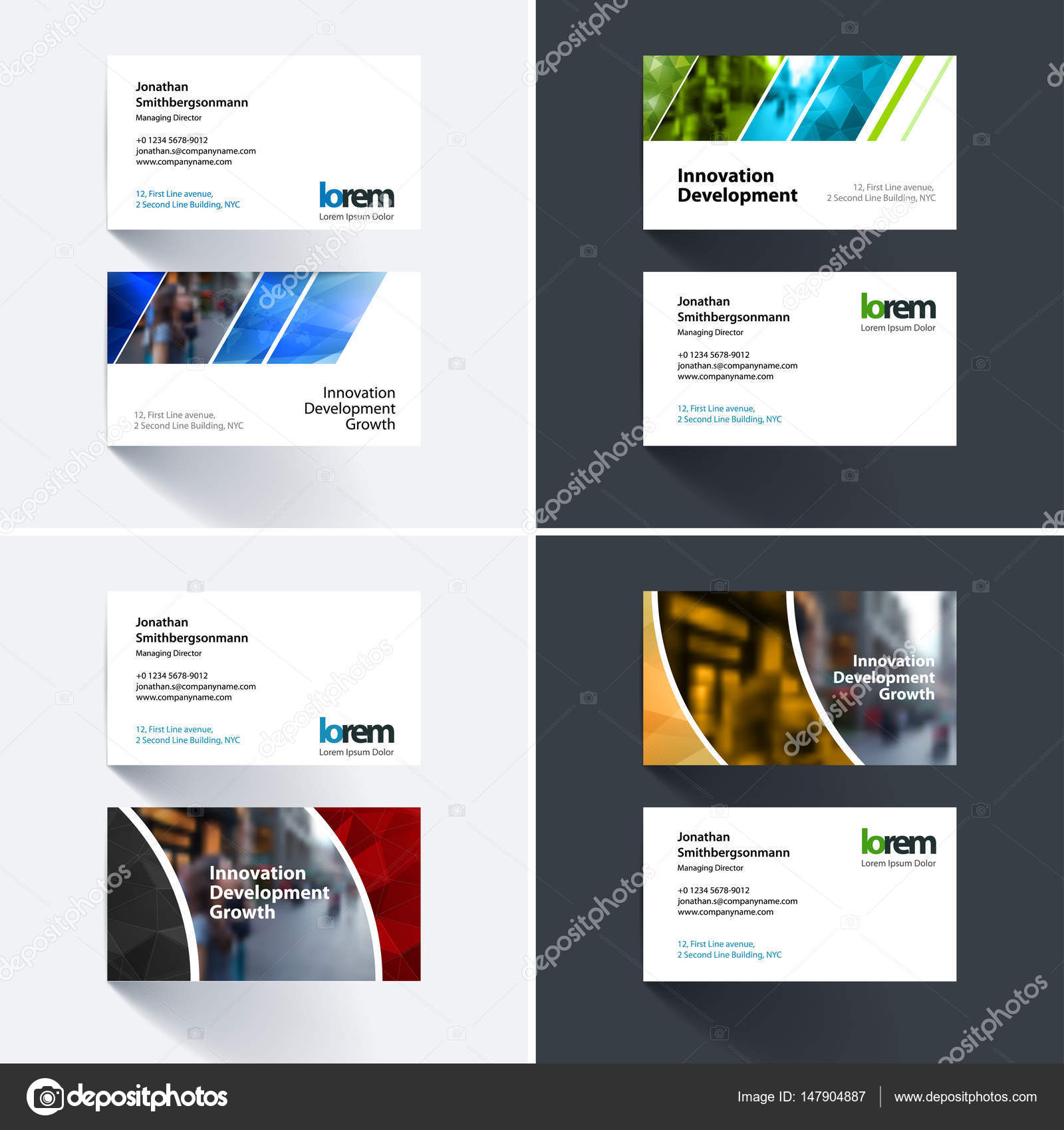 Modele De Carte Visite Vecteur Avec Des Formes Geometriques Colorees Pour Eco Affaires Technologie Simple Et Propre Conception