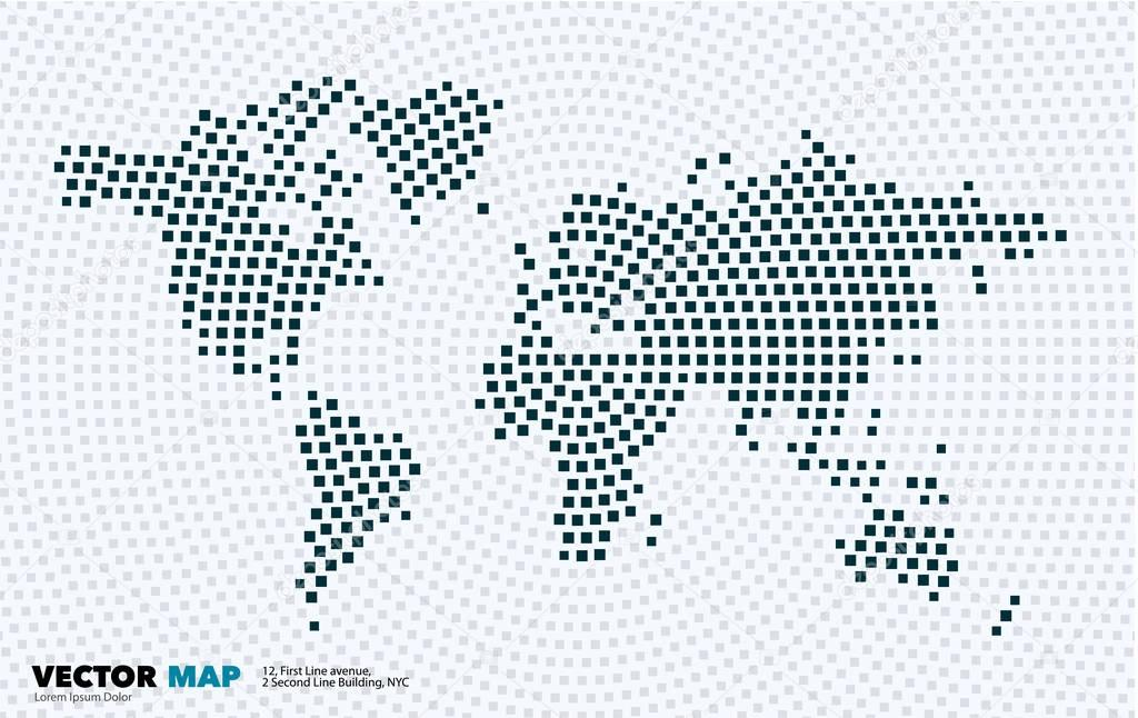 Vector world map with squares, rectangles for business templates