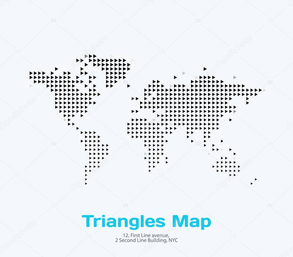 Vector world map with triangles for business templates, brochure