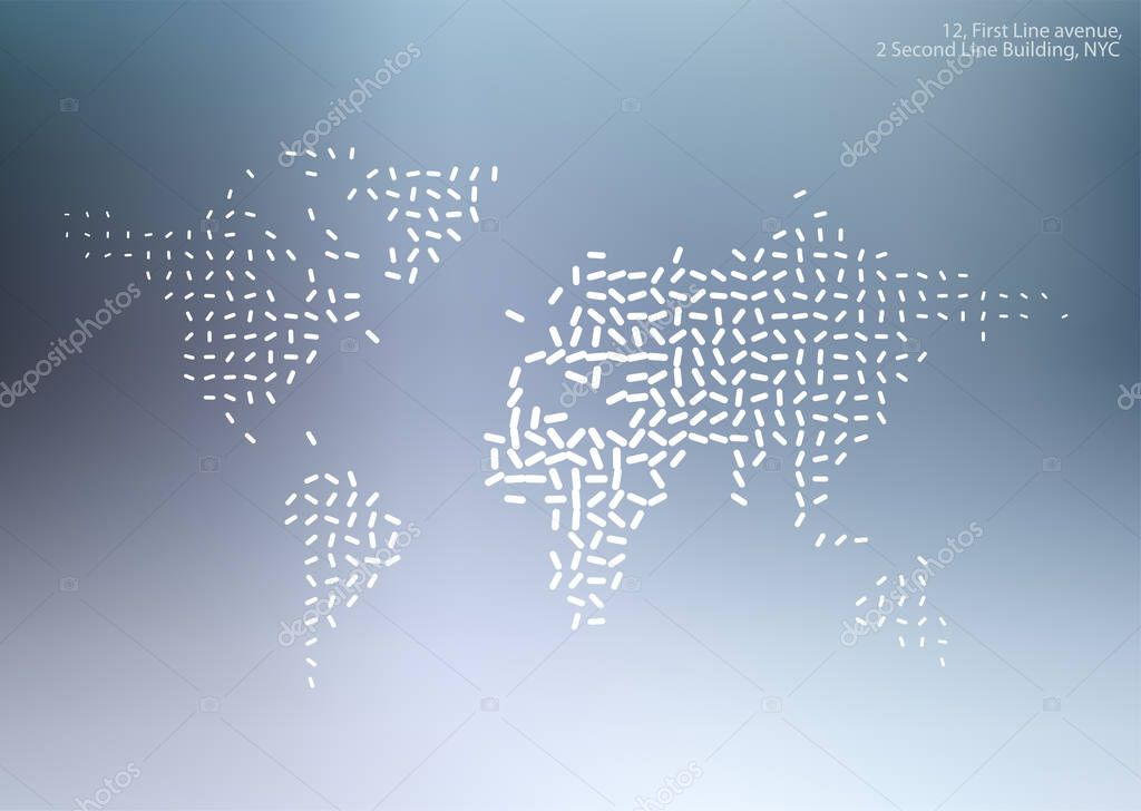 Vector world map with sticks, lines for business templates, broc