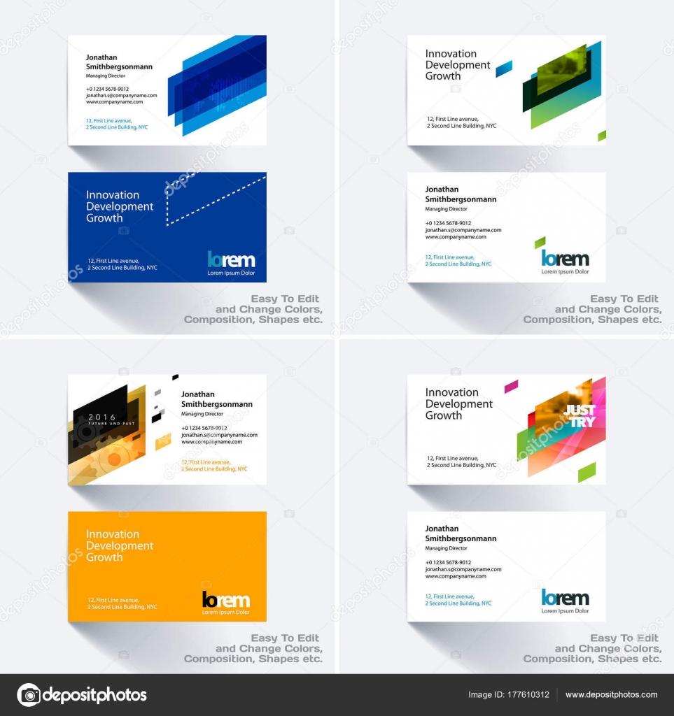 Modele Carte De Visite Vecteur Avec Des Formes Geometriques Forts Colores Pour Tech Marche Construction Entreprise Conception Simple Et Propre