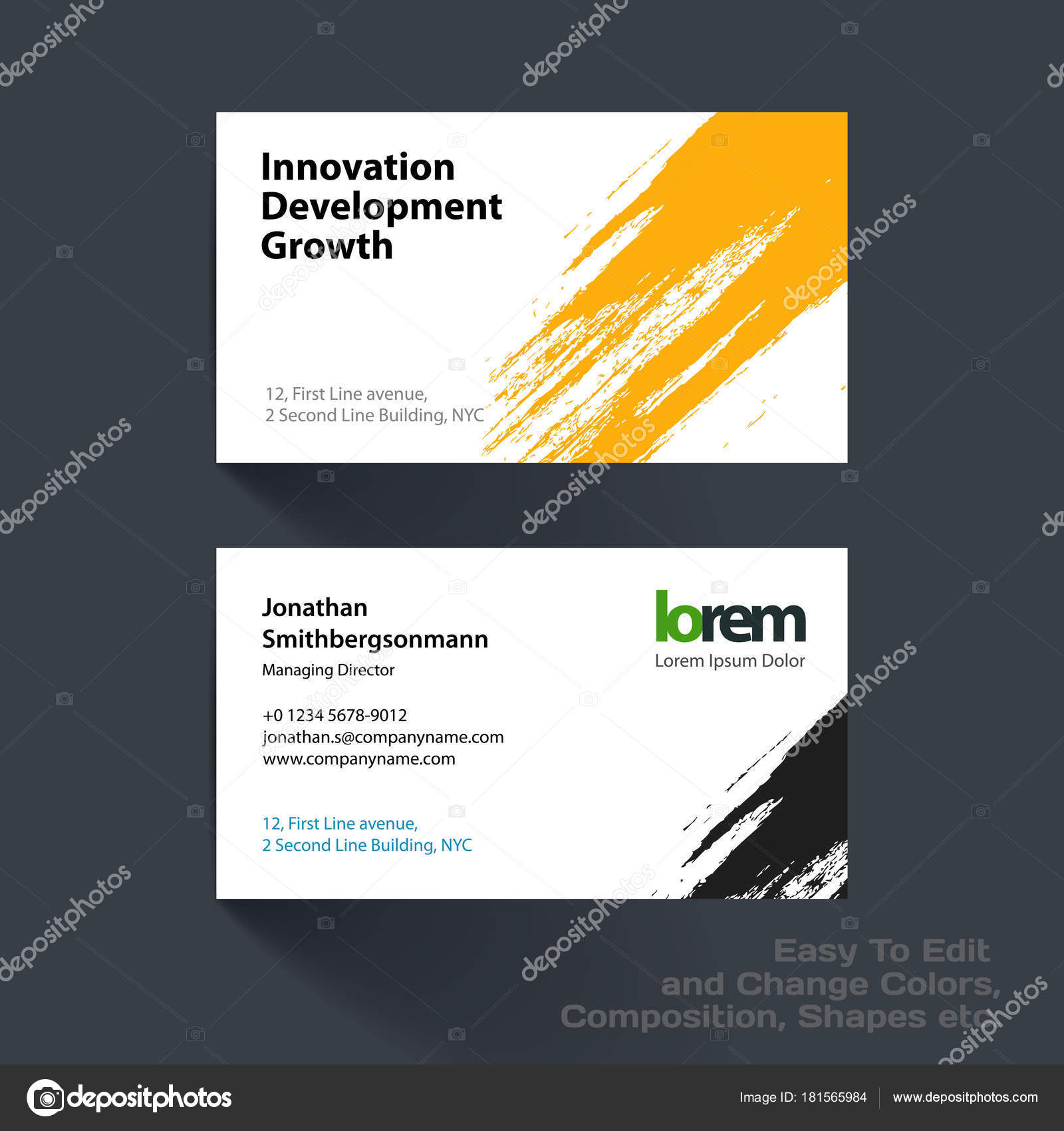 Vector business card template with with grunge colourful stroke vector business card template with with grunge colourful stroke stock vector reheart Gallery