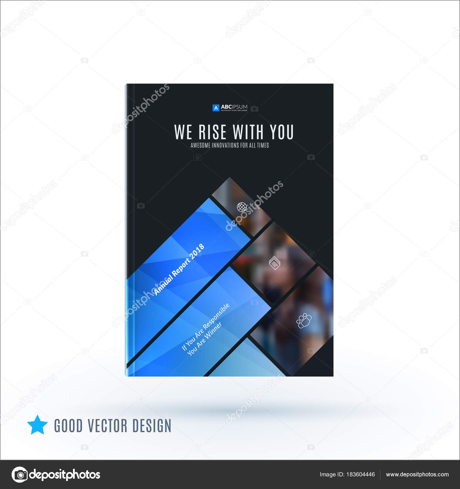 Design Of Brochure Abstract Annual Report Cover Modern Layout Flyer In A4 With Trendy Blue Elements Shapes For Business Printing Advertisement
