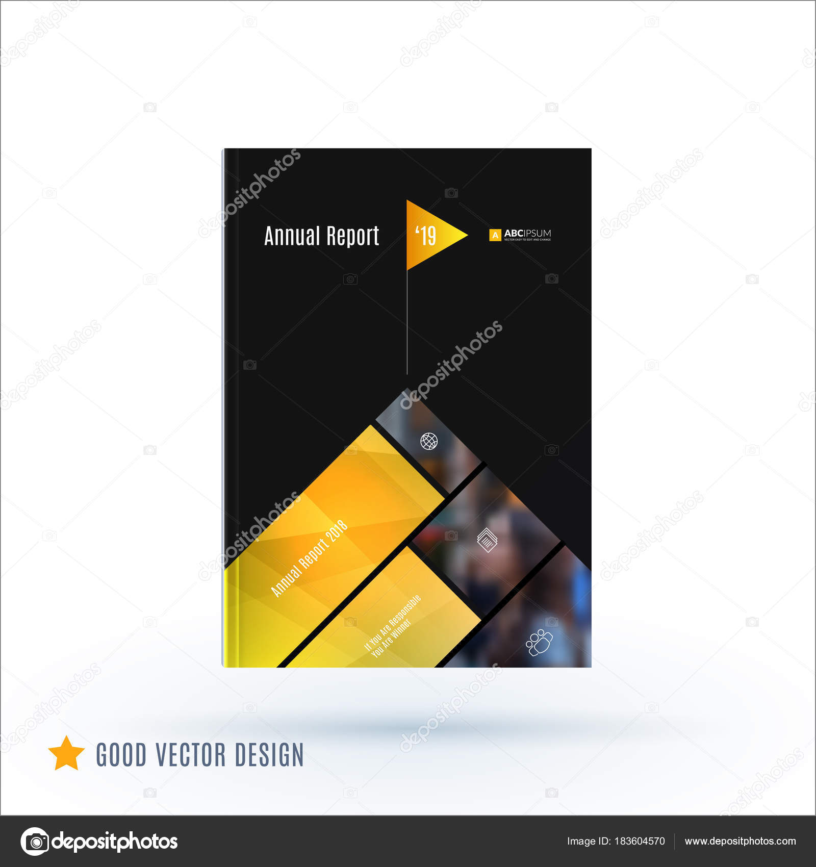 Design Of Brochure Abstract Annual Report Cover Modern Layout Flyer In A4 With Trendy Yellow Black Elements Shapes For Business Printing Advertisement