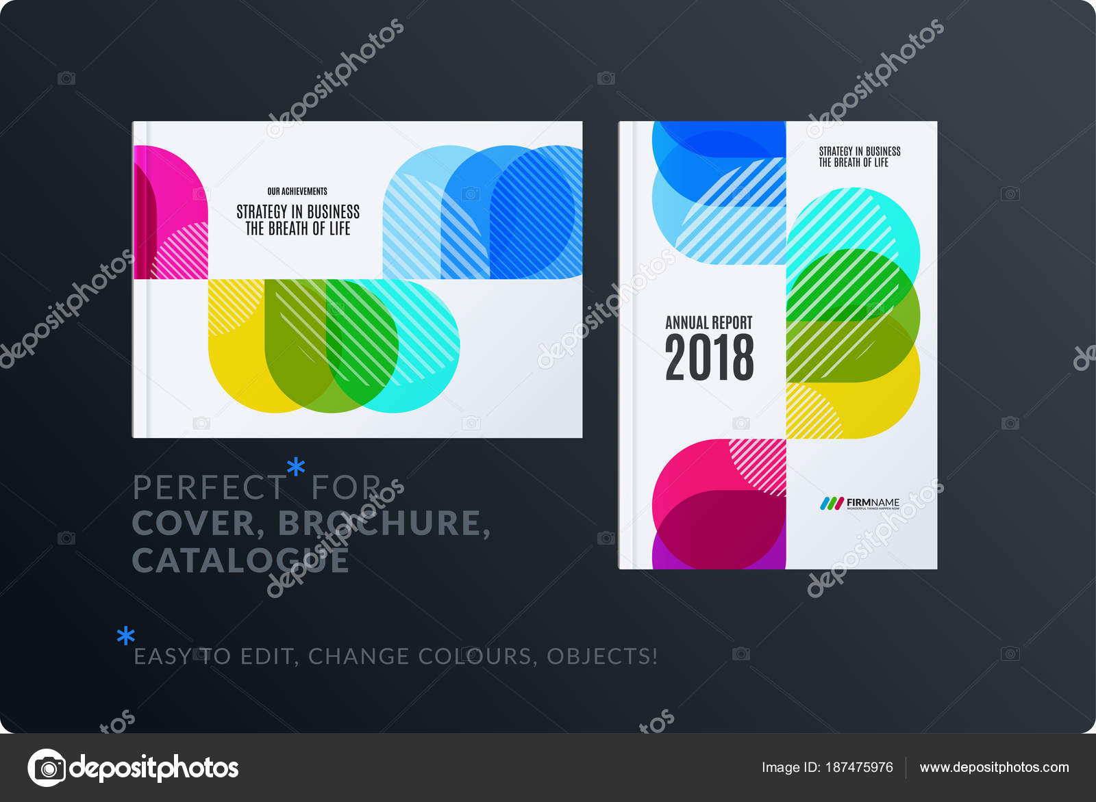 creative design of brochure set abstract annual report horizontal cover layout flyer in a4 with vector colourful rounded shape for ecology branding