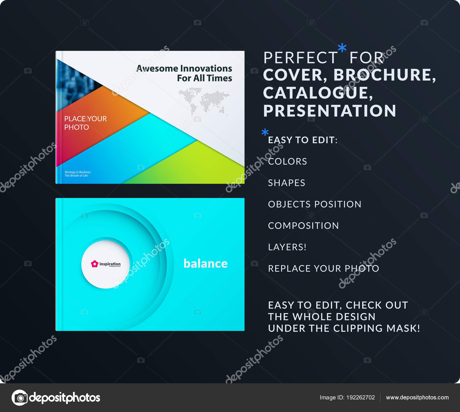 Material design presentation. Abstract colourful vector set of ...