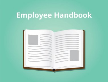 employee handbook illustration with books open and text on top