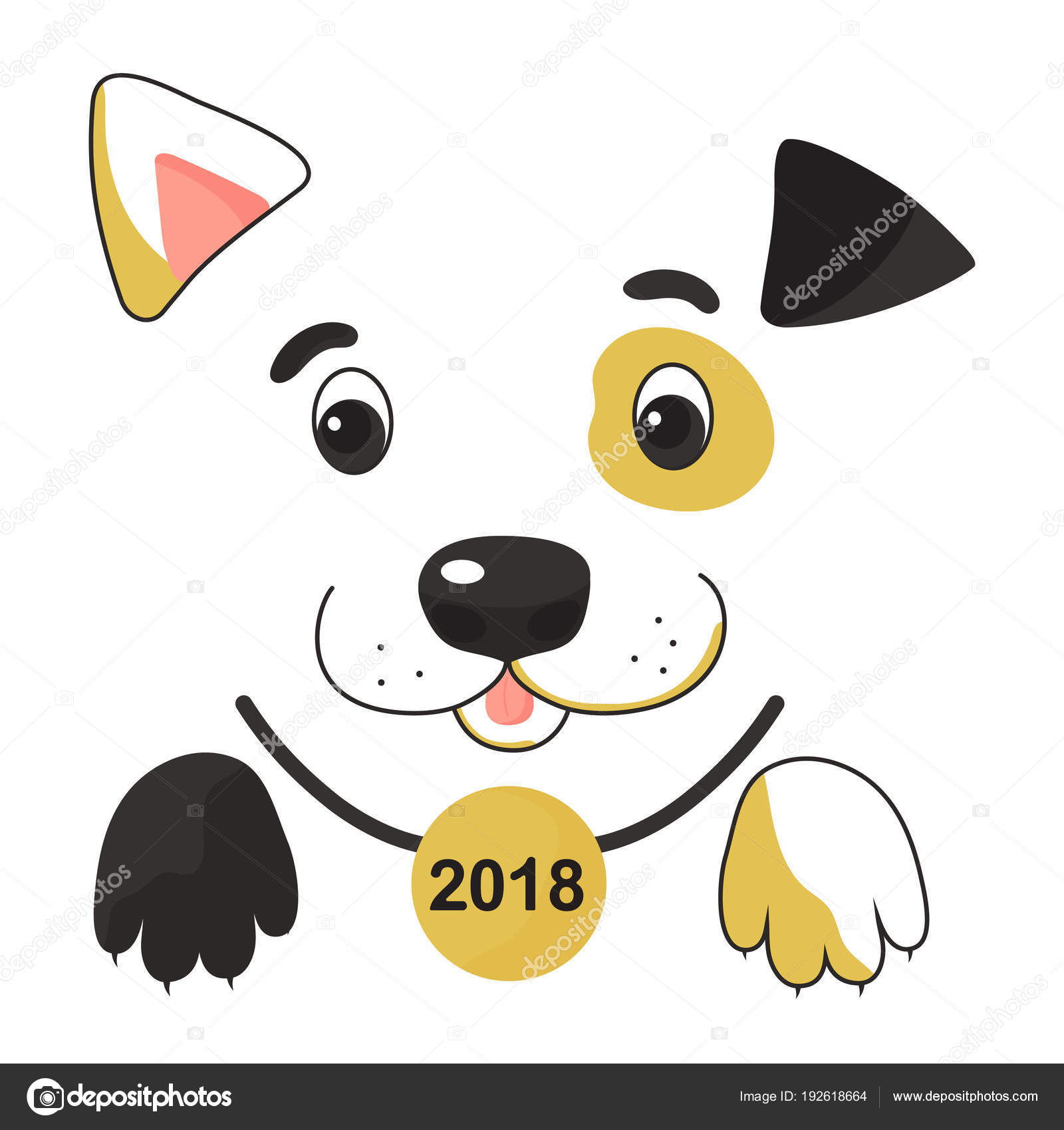 Funny Spotted Yellow Dog Collar Medal Symbol Chinese New Year ...