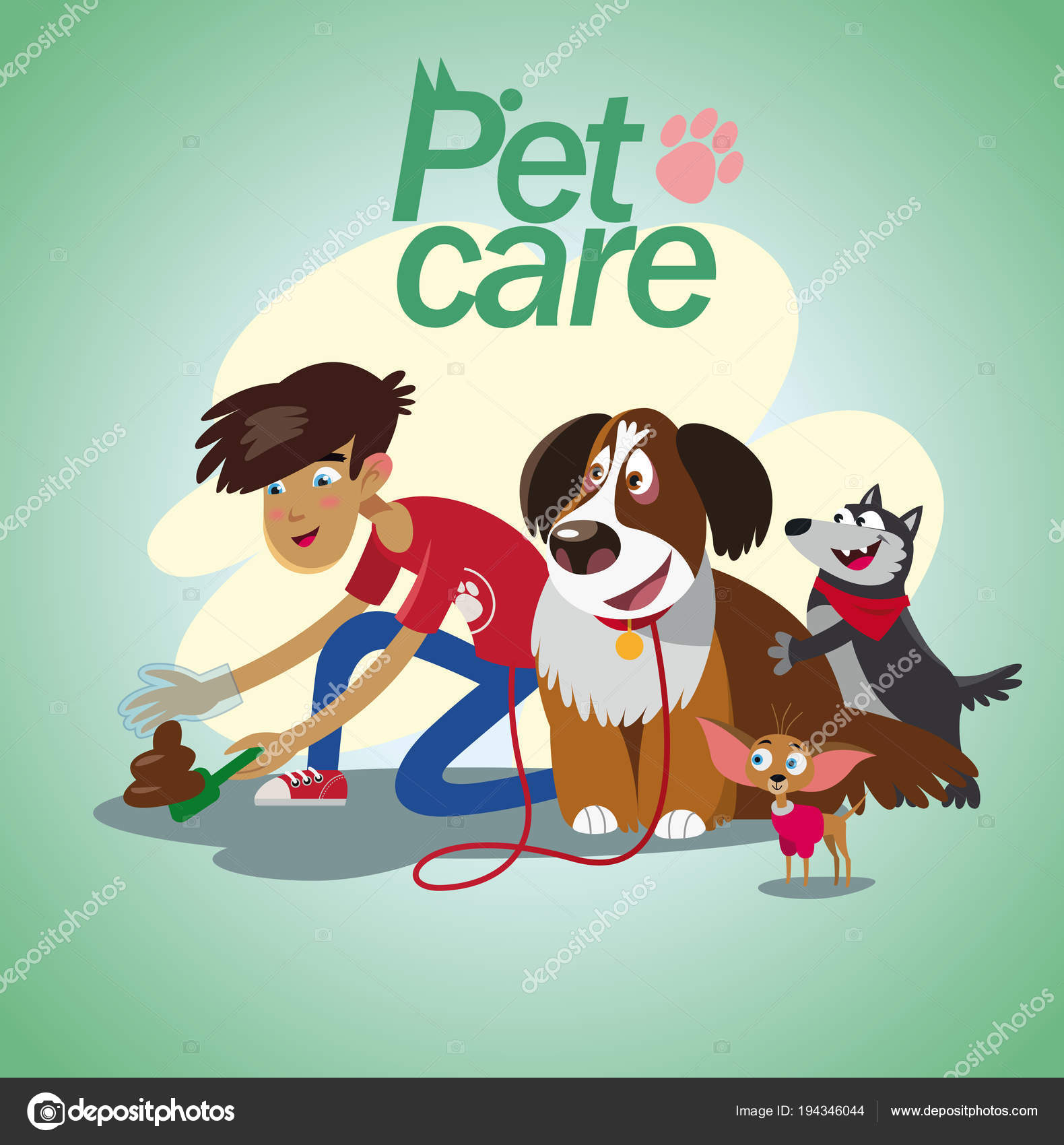 Young Boy Walking With Dogs Pet Care Part 3 Stock Vector C Natalizart 194346044