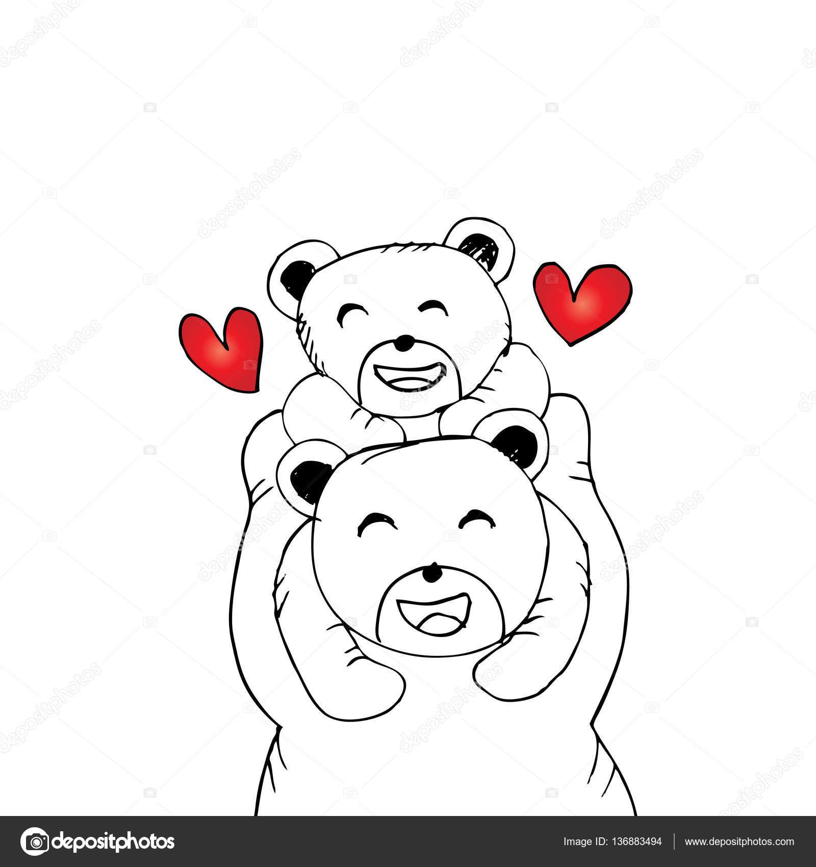 Mère Ours Et Bébé Ours Illustration Dessin Main