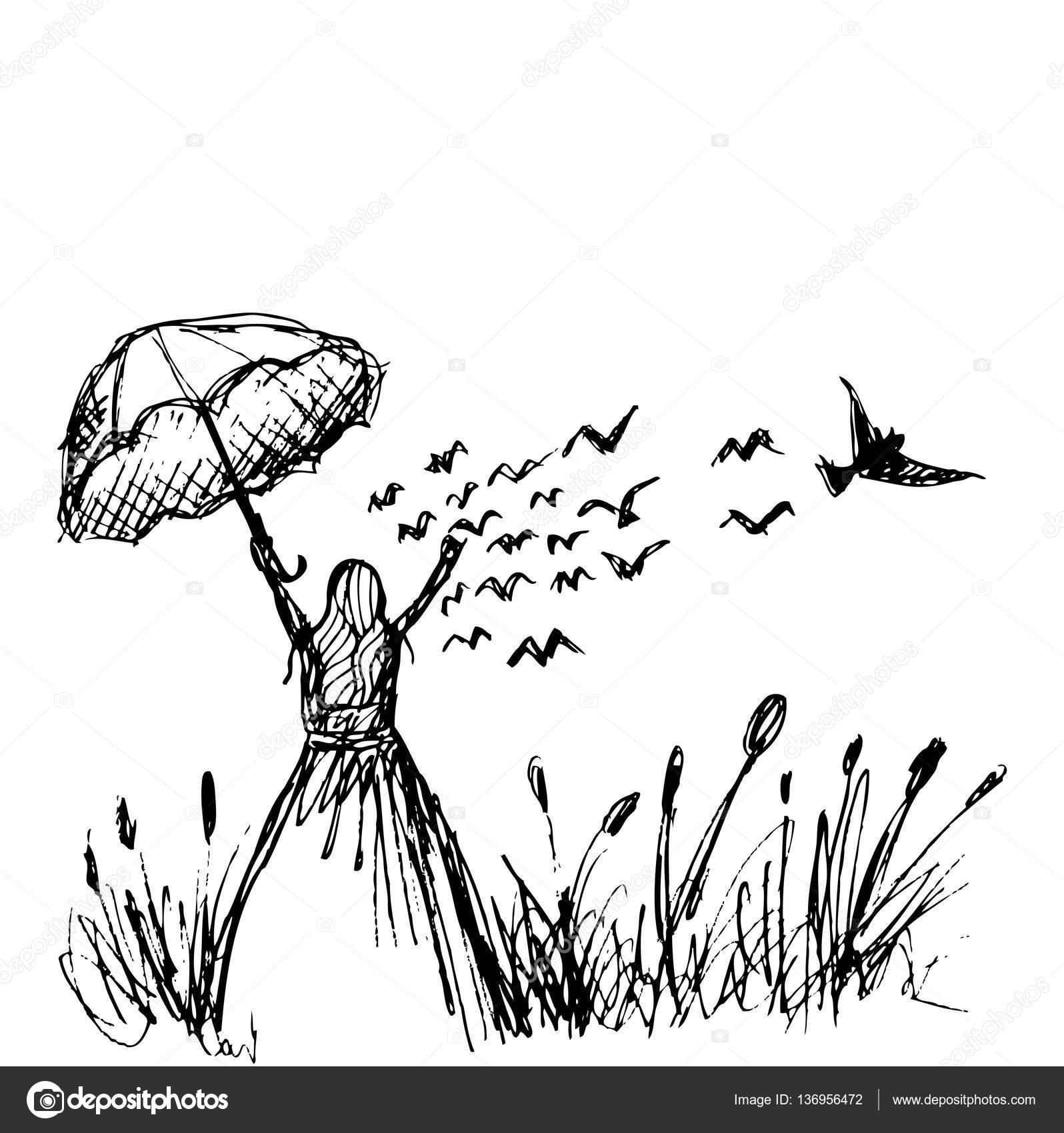 Young Girl In The Meadow With Birds Flying Bird Hand