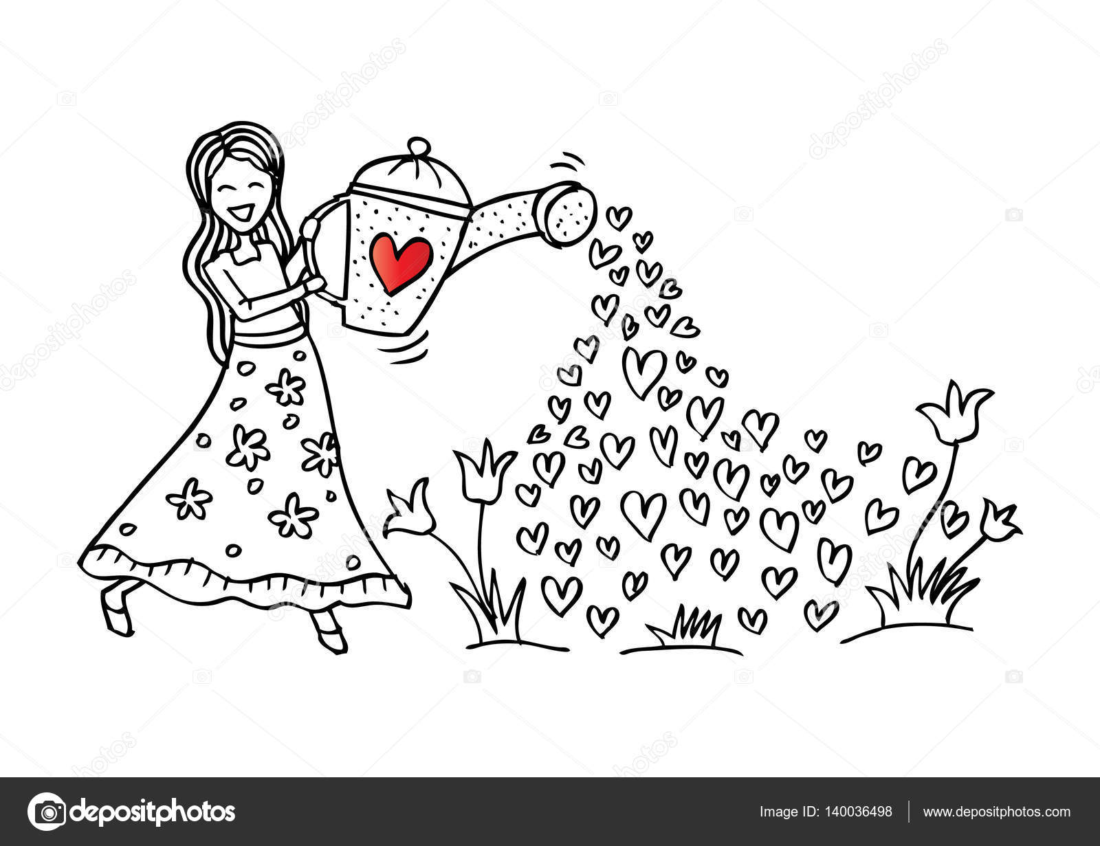 Kız çiçek Sulama Stok Foto Handini 140036498