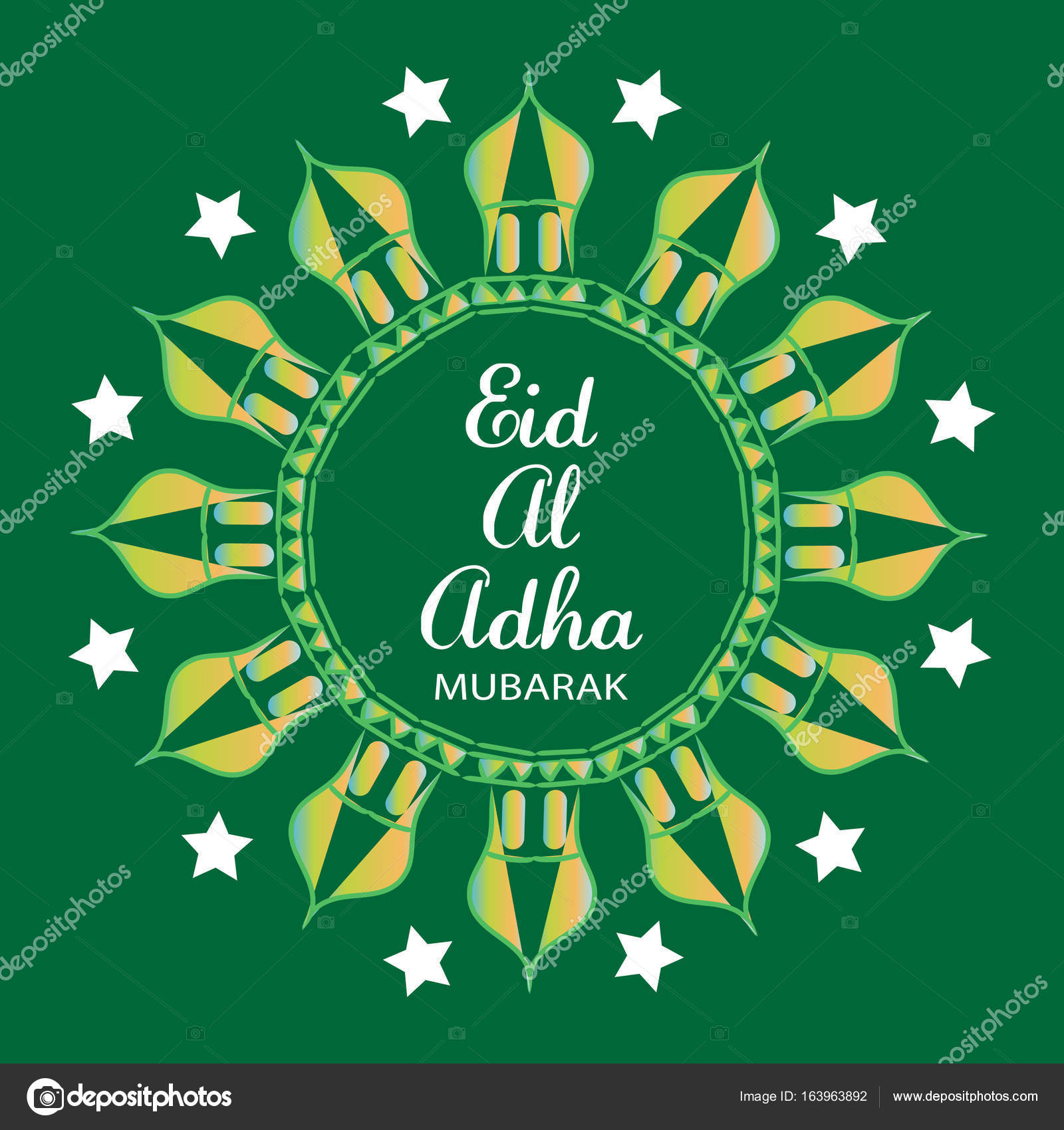 Eid Al Adha Greeting Card Stock Photo Handini 163963892