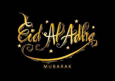 Eid al-Adha handwritten lettering. Eid Mubarak greeting card.