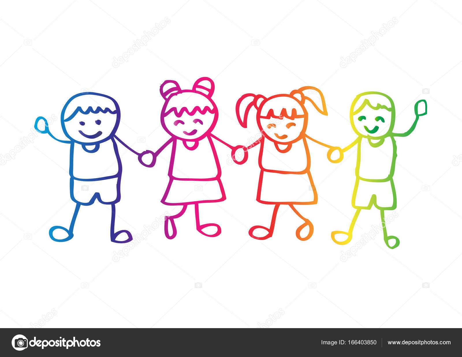 Dibujos Niños Agarrados De La Mano Niños Tomados De La Mano