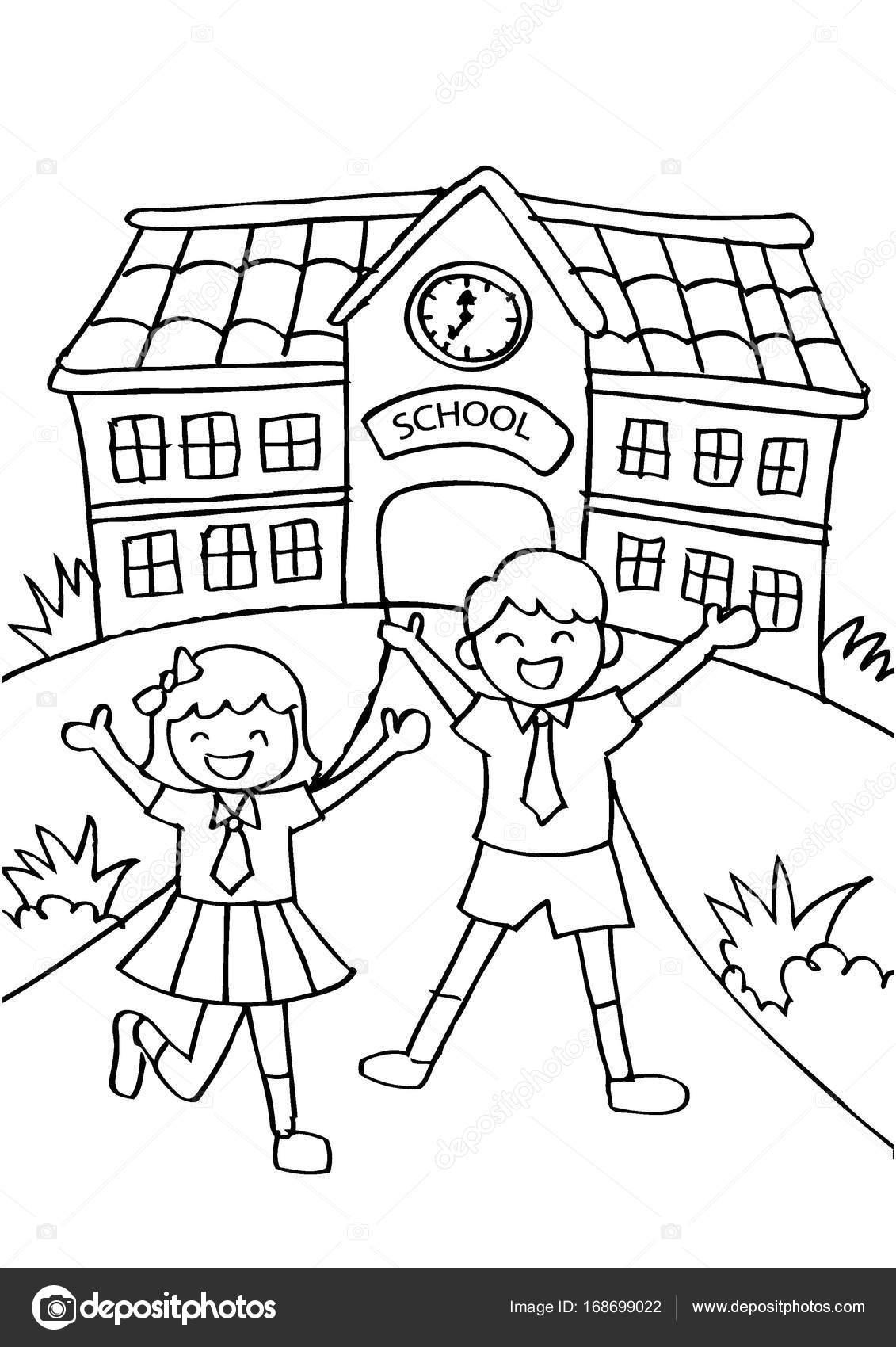 Imágenes Niños Van Ala Escuela Para Colorear Lindos Niños