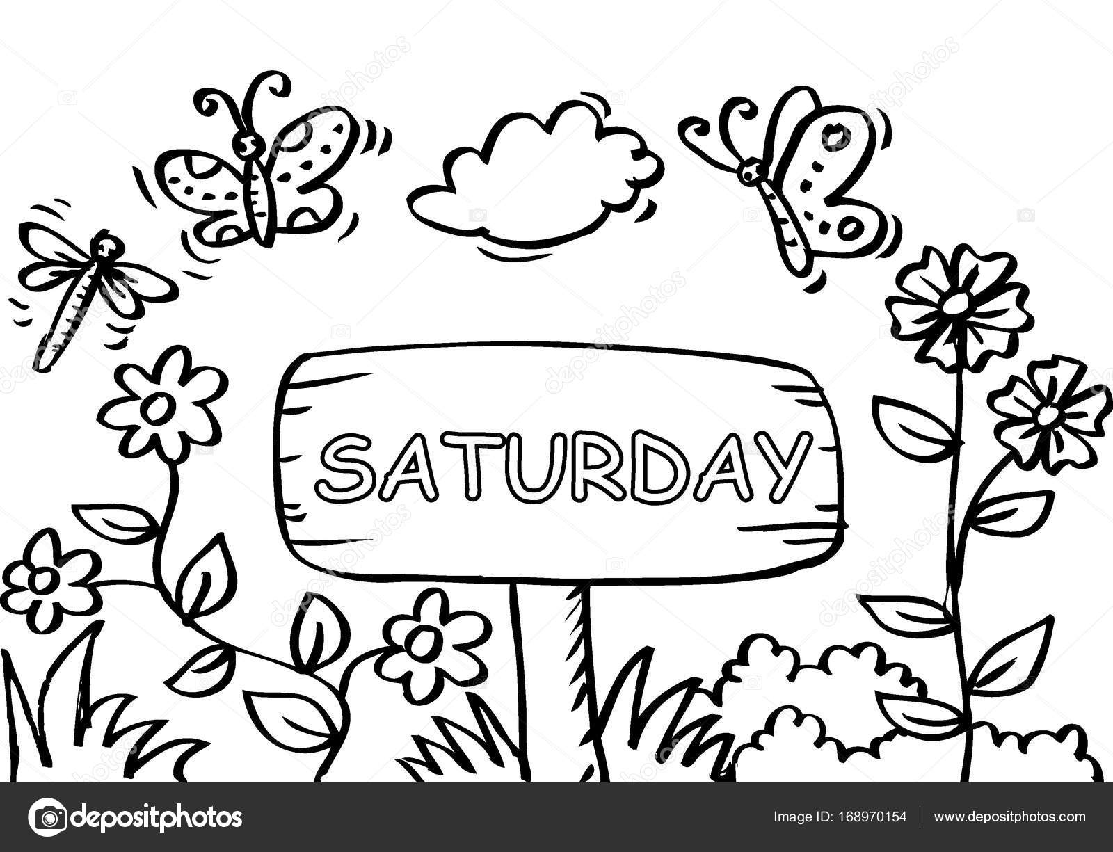 Página para colorear de sábado con mariposa — Foto de stock ...