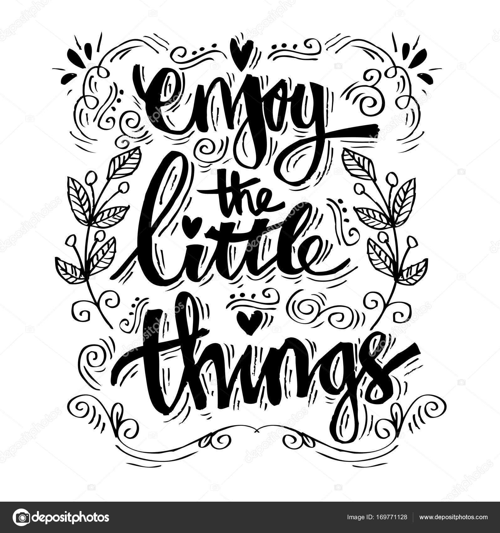 Enjoy The Little Things. Quotes. U2014 Stock Photo