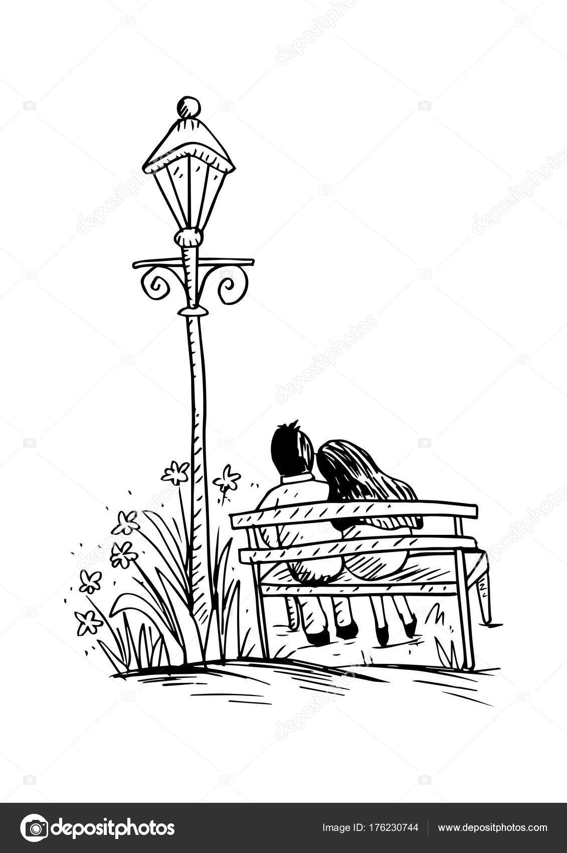 Romantic couple bench sketching stock photo