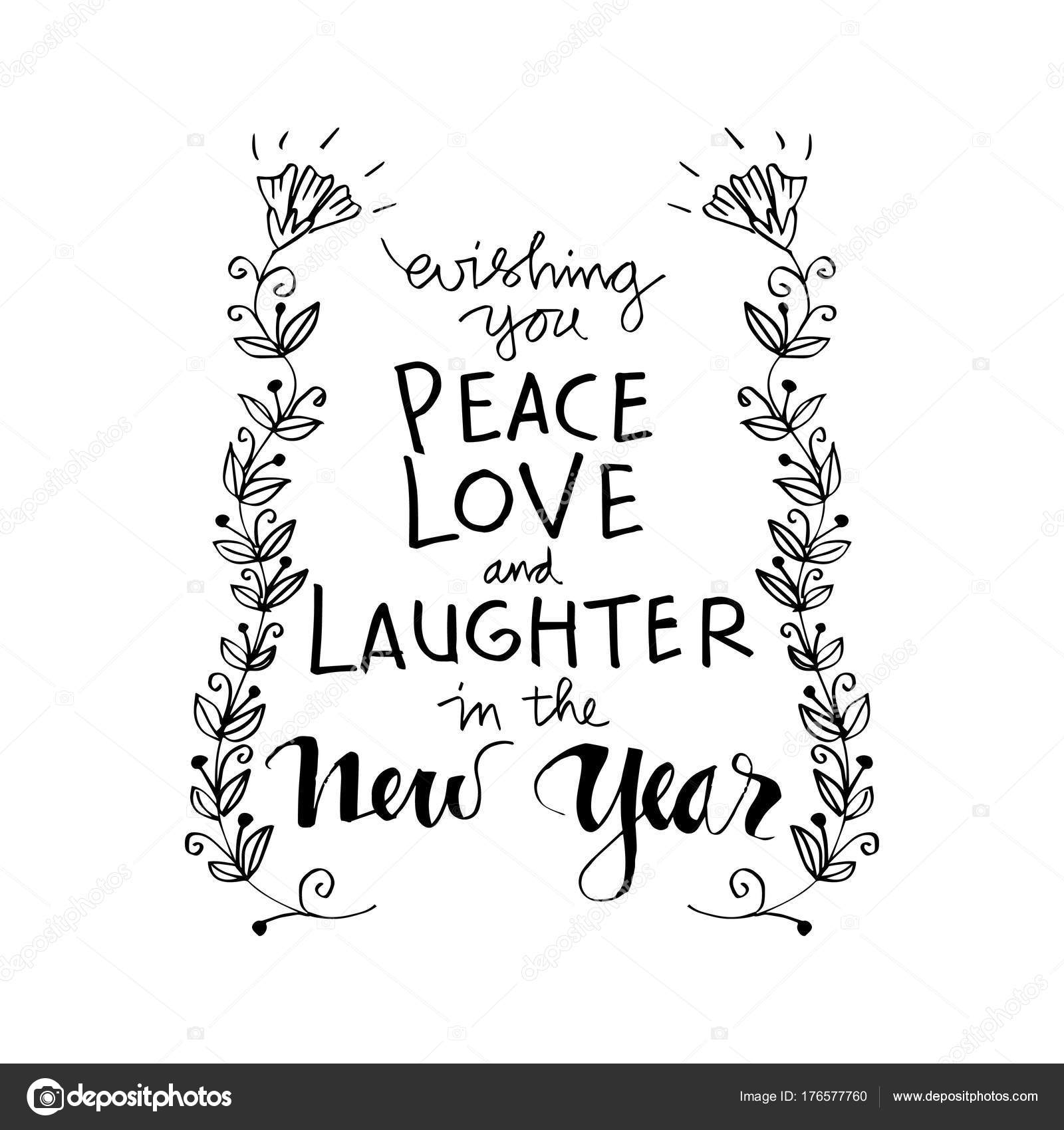 wishing you peace love laughter new year motivational quote stock