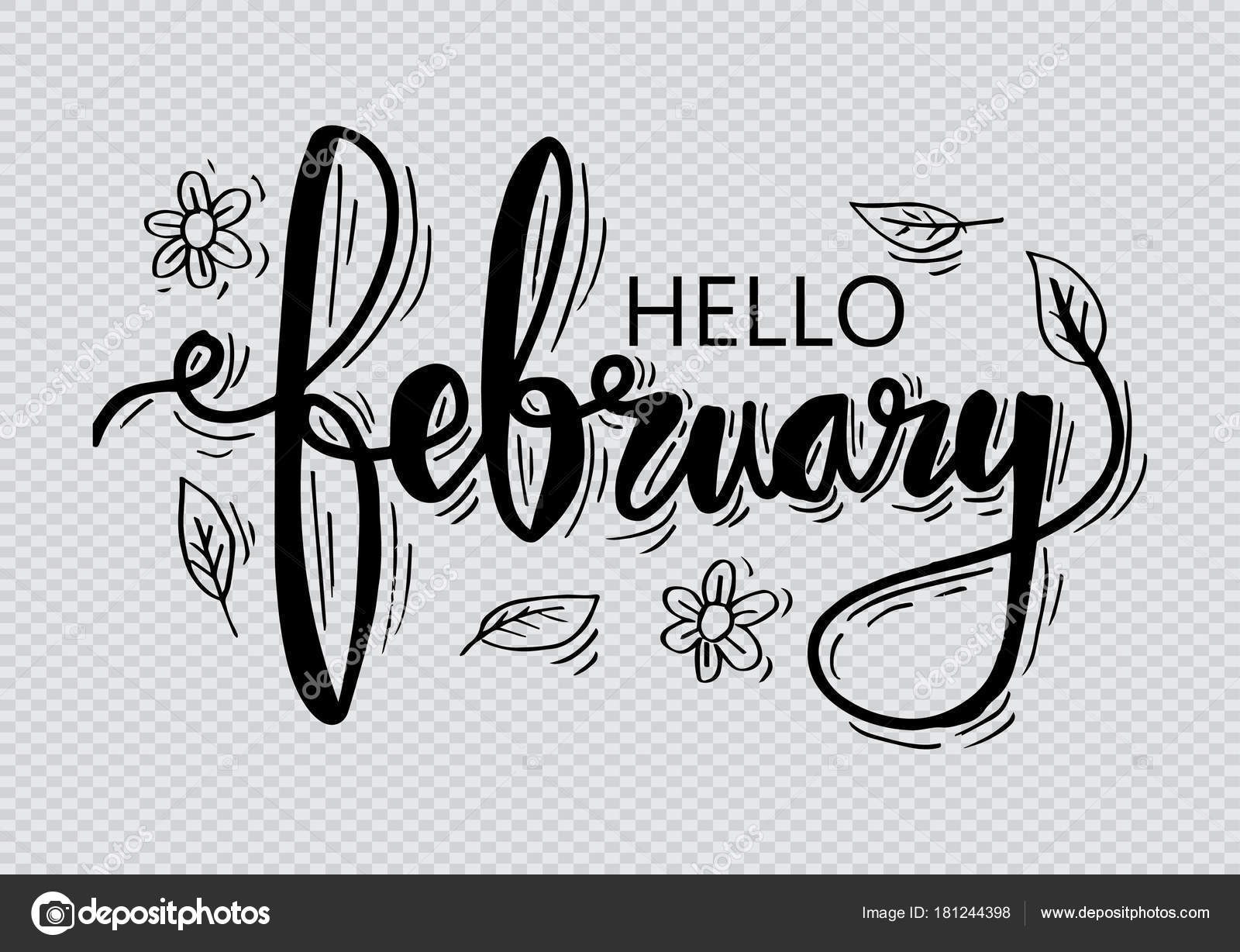 Hello February Hand Lettering — Stock Photo © Handini #181244398