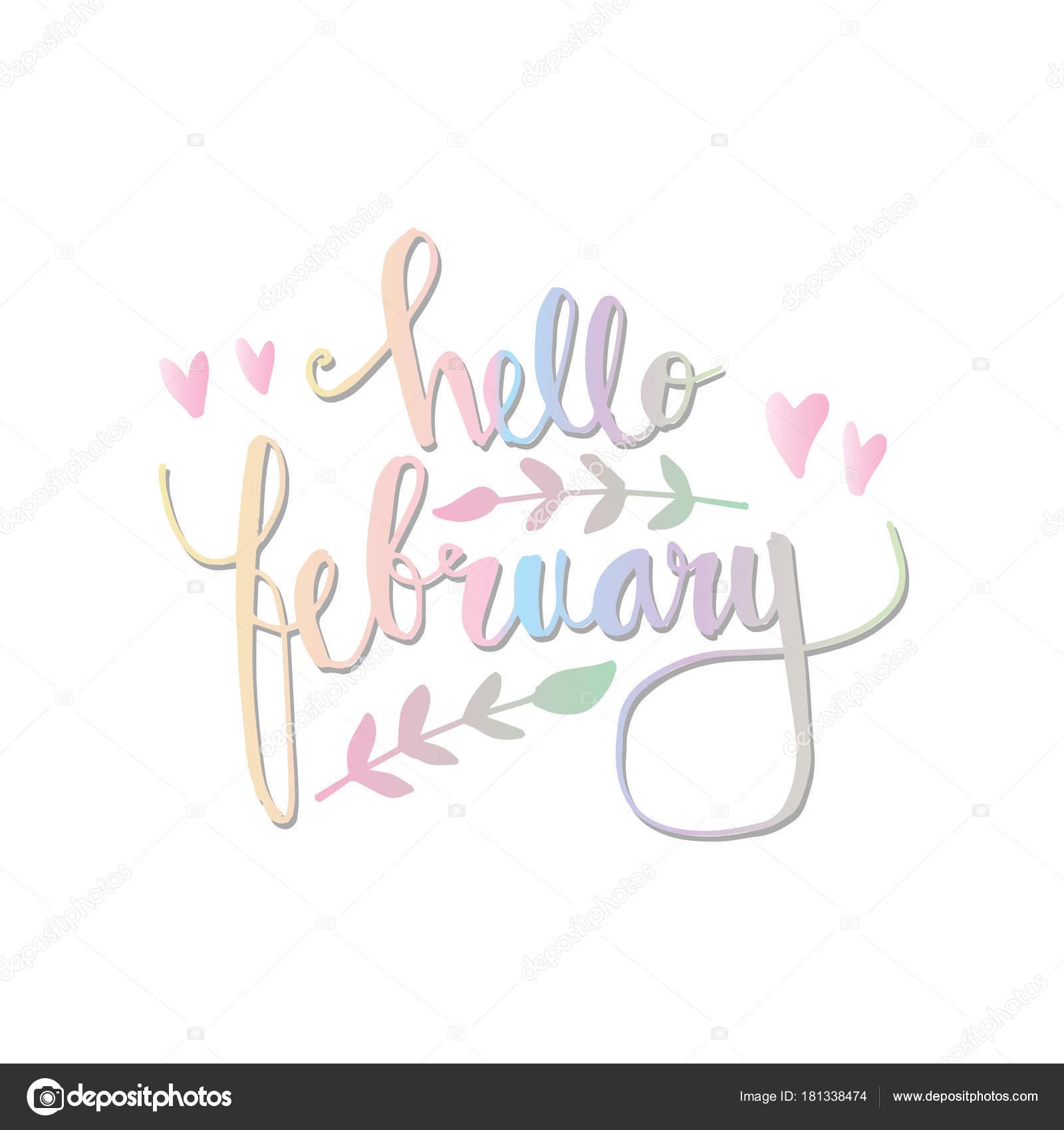 Hello February Hand Lettering — Stock Photo © Handini #181338474