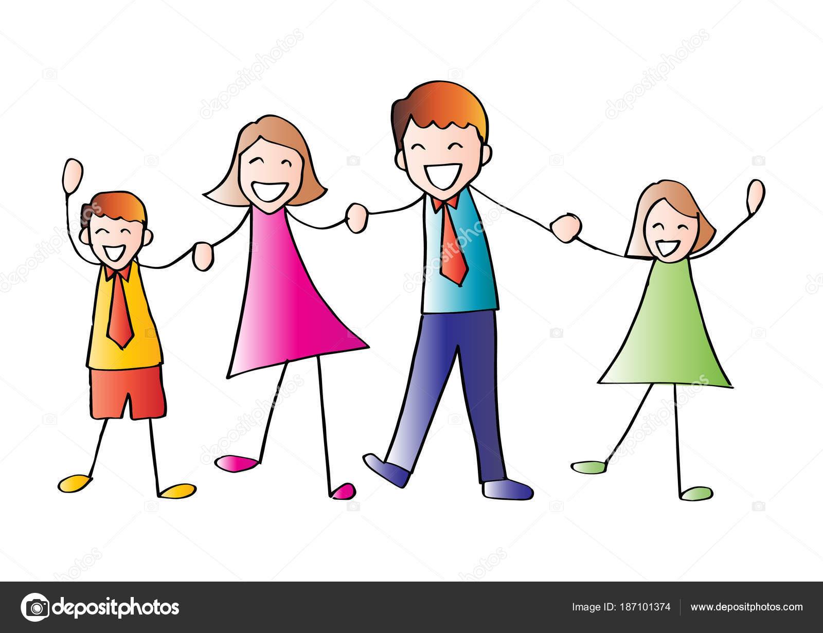 Desenho Animado Família Feliz Mãos Dadas