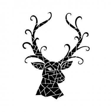 Deer head abstract geometric
