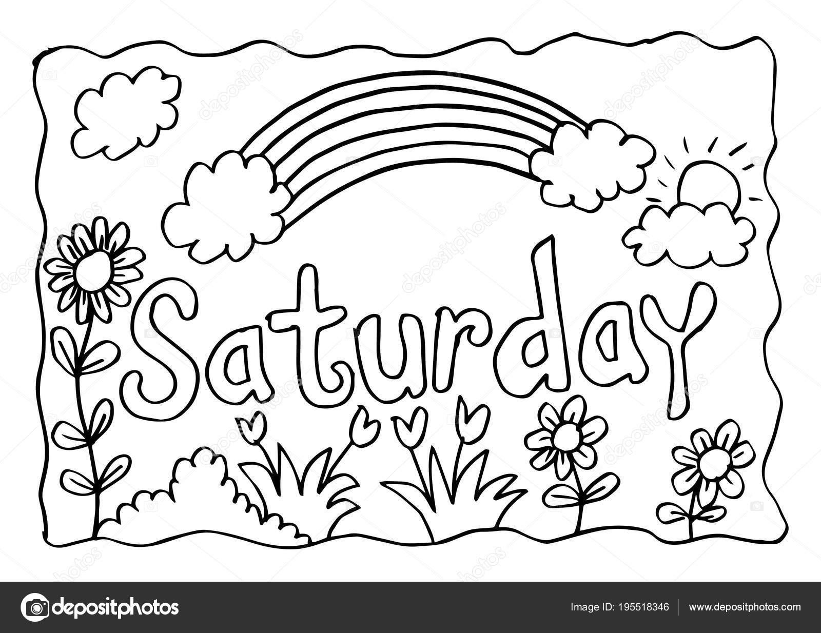 Página Para Colorear Sábado Con Arco Iris — Foto de stock © Handini ...