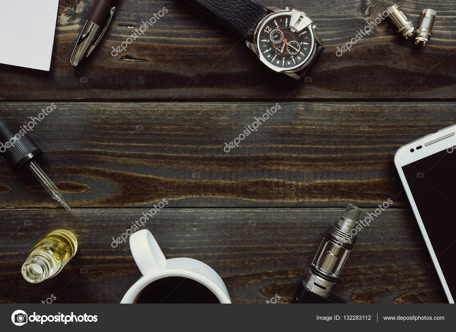 Vaping Set Watch Smartphone And Coffee On The Dark Table Hipster Or Bussinesman Style Trendy Objects With Copy Space Wooden Background Photo By