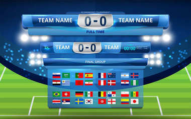 Vector Illustration Graphic of Scoreboard Broadcast and Lower Thirds Template for soccer world tournament championship to russia 2018