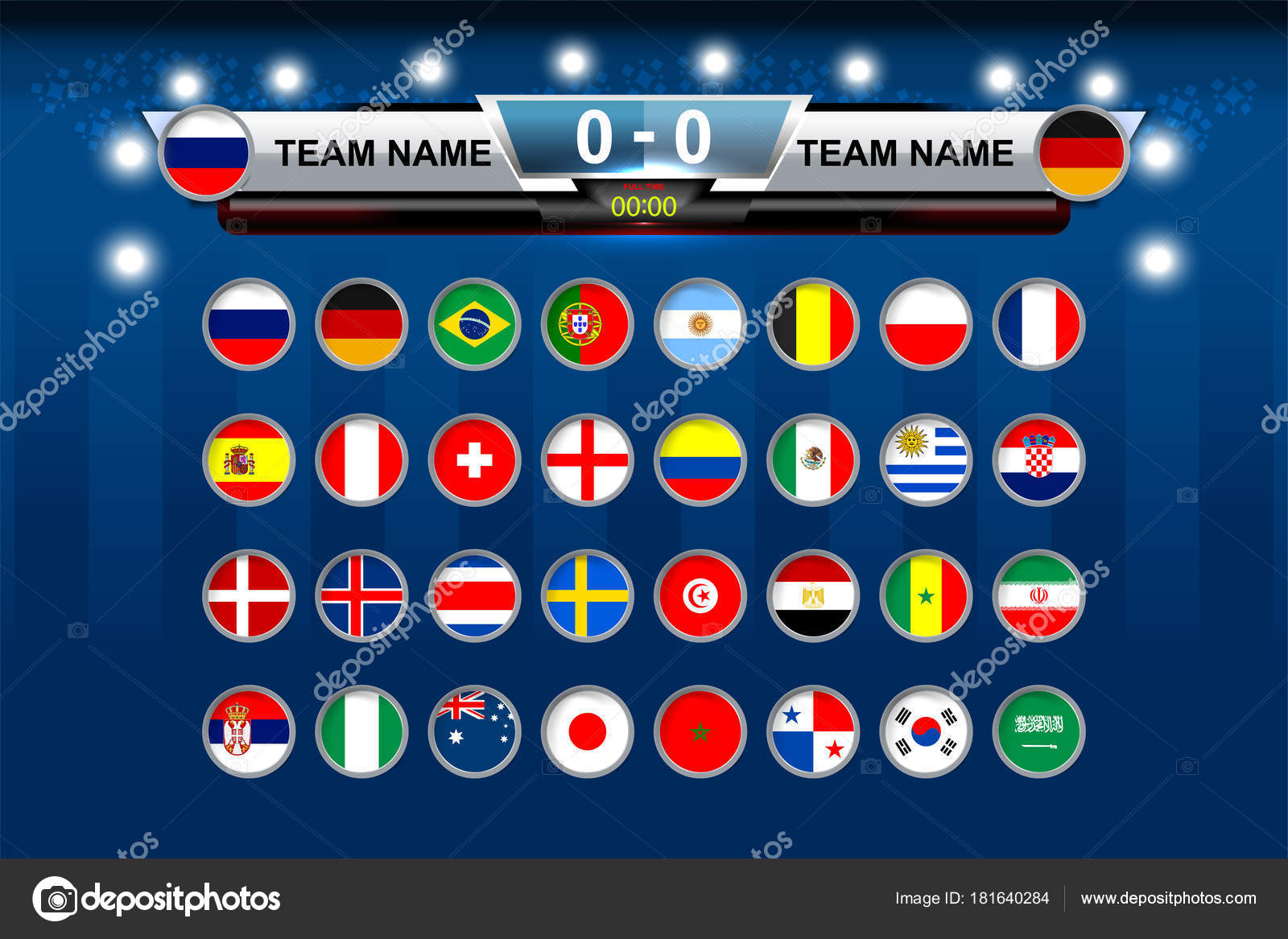 Vector Illustration Graphic Scoreboard Broadcast Lower Thirds Template Soccer World Stock