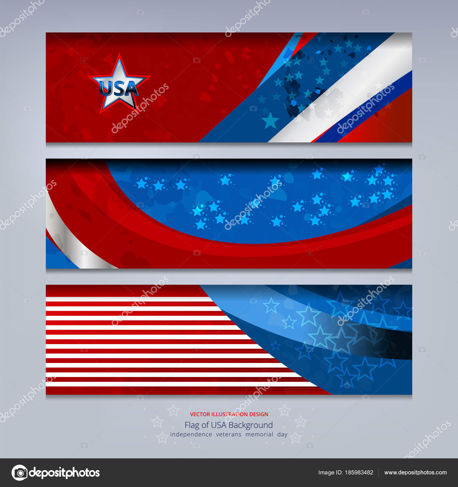 Flag Usa Banner Background Independence Veterans Labor Memorial Day Other Stock Vector C Ijaydesign99 185983482