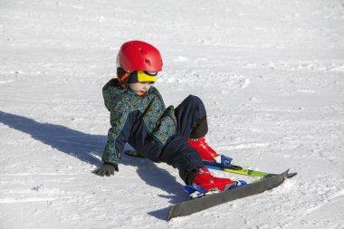 Russia, Sochi, December 01, 2017 - ski resort, the boy learns to ski, editorial.