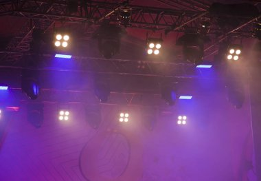 night stage The variety scene is highlighted with an ultra violet light with smoke