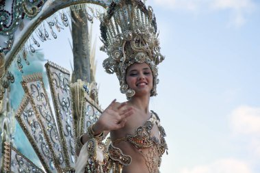 SANTA CRUZ DE TENERIFE, SPAIN - febuary 17, 2013: family costume show,    the main carnival procession   in Tenerife.