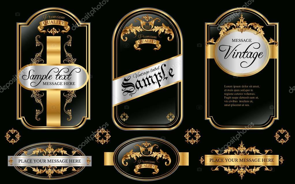 15efe5de223 Vector vintage gold framed labels set. Golden on black. Baroque style  premium quality label collection. Best for chocolate