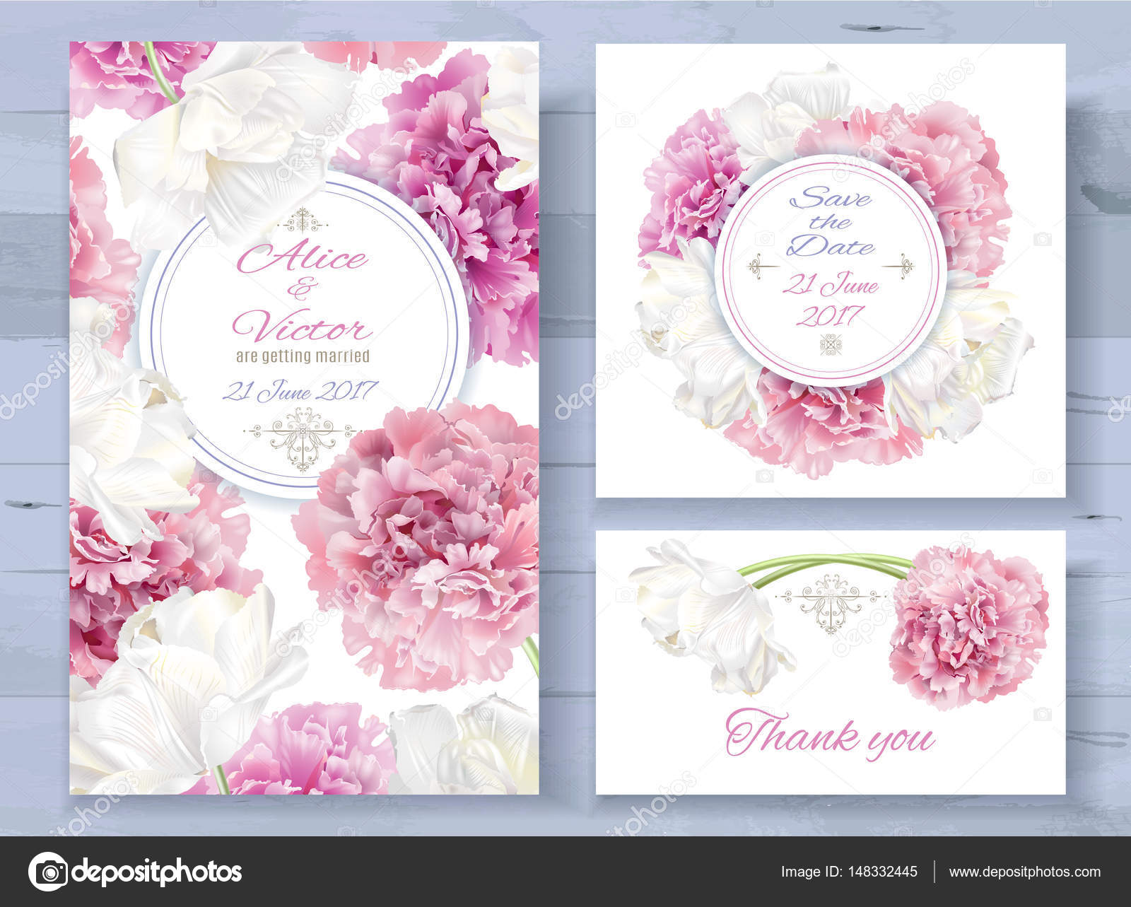 Vektor Hochzeits Einladungen Set Mit Rosa Pfingstrose Und Weiße Tulpe  Blumen Auf Weißem Hintergrund. Romantische Zartes Florales Design Für ...