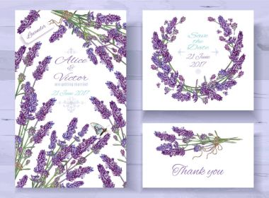 Lavender invitations set