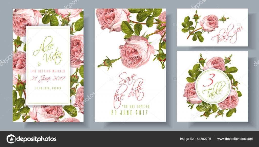Rose wedding invitation — Stock Vector © PurpleBird18 #154852706