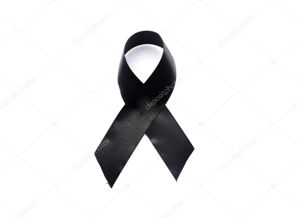 schwarze schleife symbol f r trauer und melanom isoliert auf weiss stockfoto wirachaiphoto. Black Bedroom Furniture Sets. Home Design Ideas