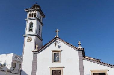 Church architecture detail of our lady of conception (Nossa Senhora da Conceicao) in Quarteira, Portugal
