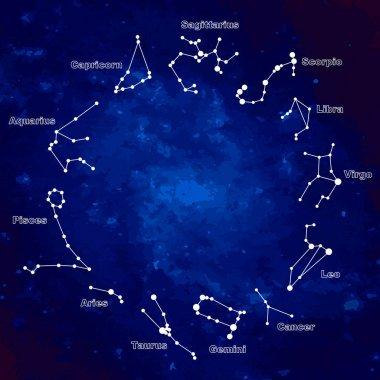 Raster illustration. Set of symbol zodiac sign