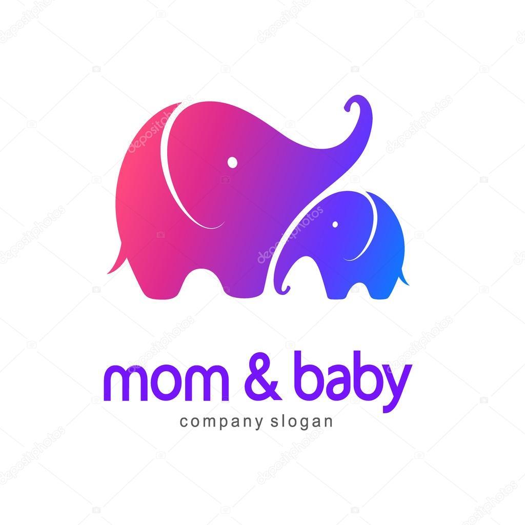 3e2d7eda9 Vector logo mother elephant with a baby elephant — Stock Vector ...