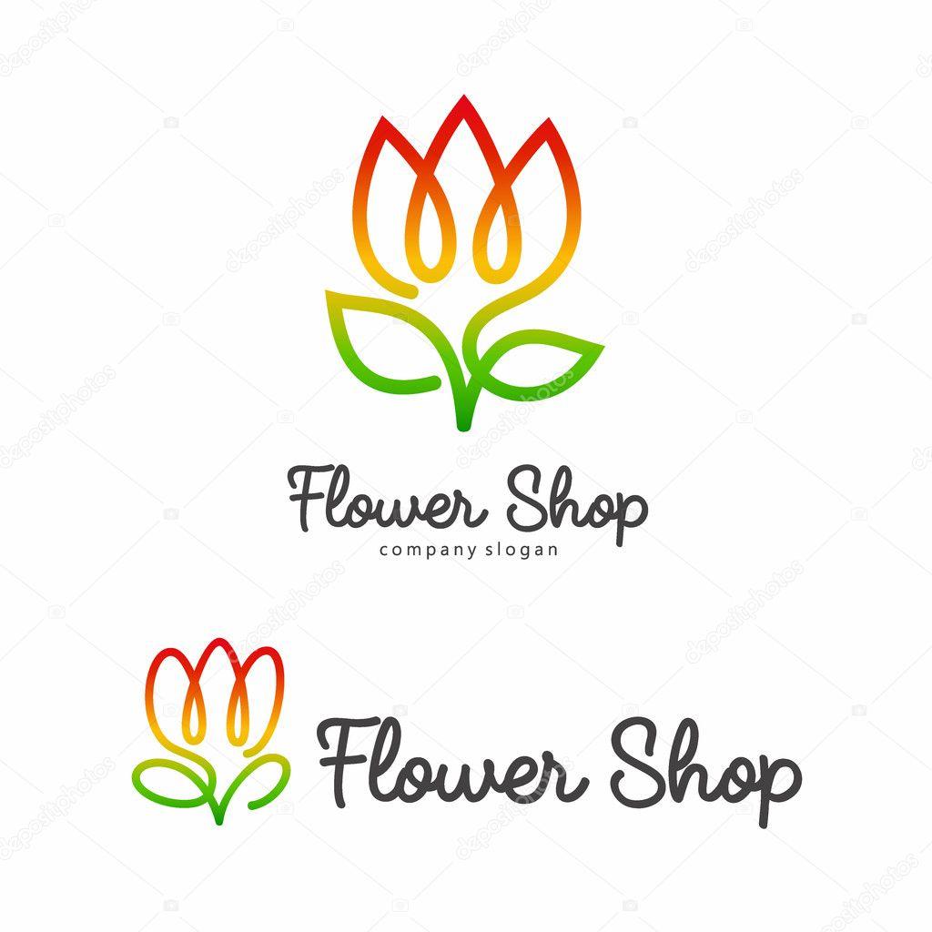 Vector Flower Symbol Line Logo For A Flower Shop Stock Vector