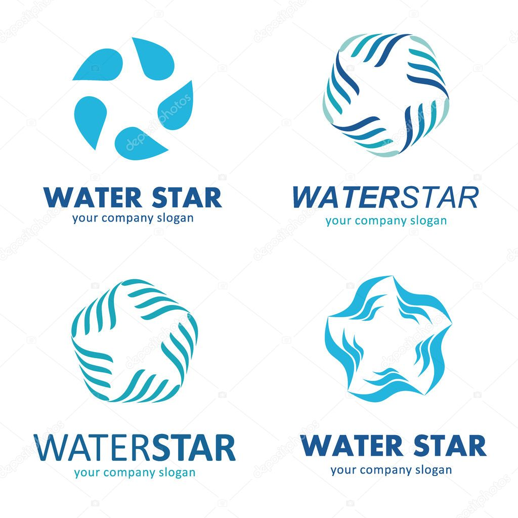 Plantilla de logo estrella de agua. Asociación de agua — Archivo ...