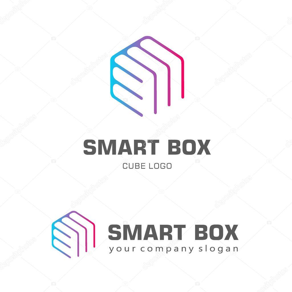Diseño de logotipo plantilla hexagonal. Smart box — Archivo Imágenes ...