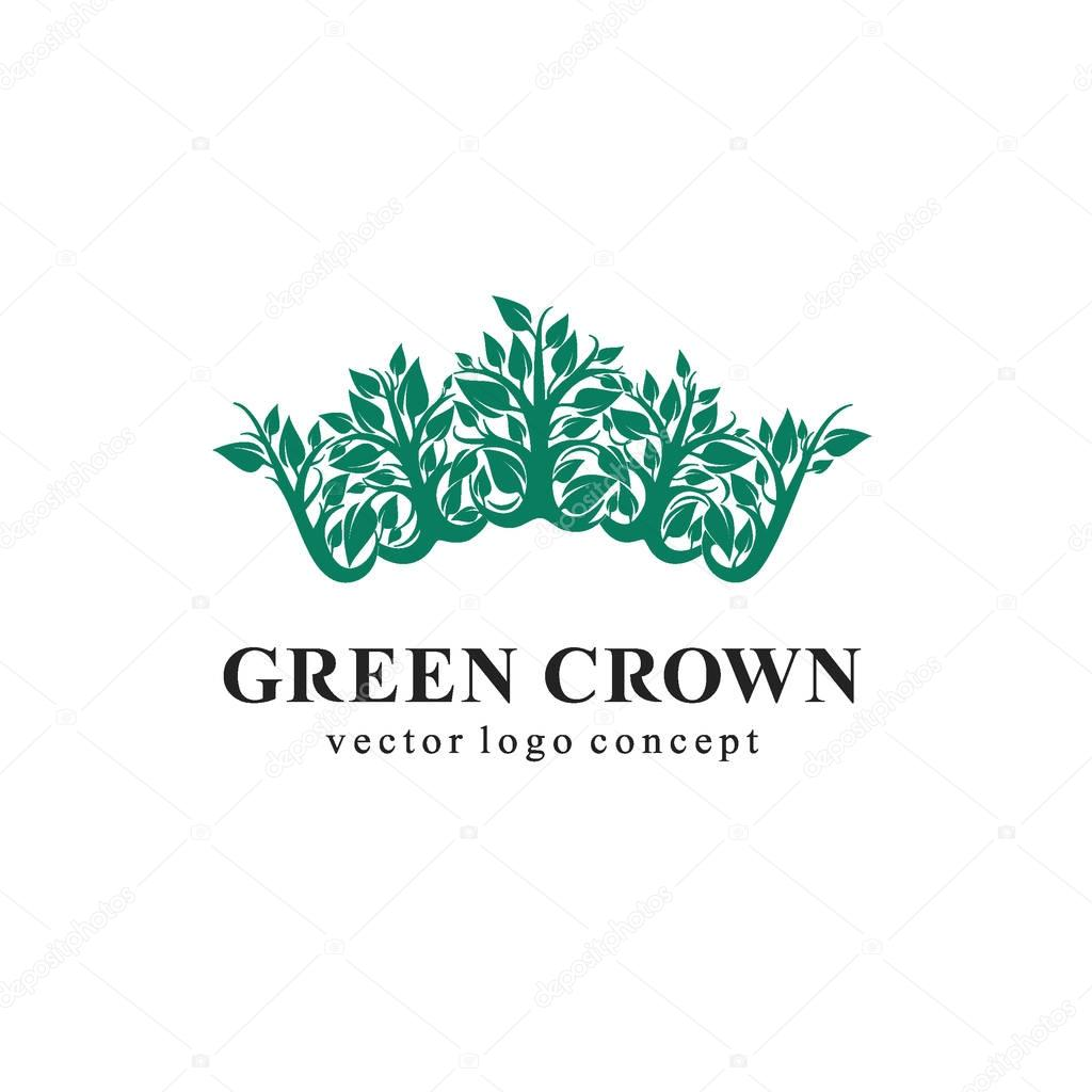 Green Crown Logo. Logo for cosmetic, beauty, Spa