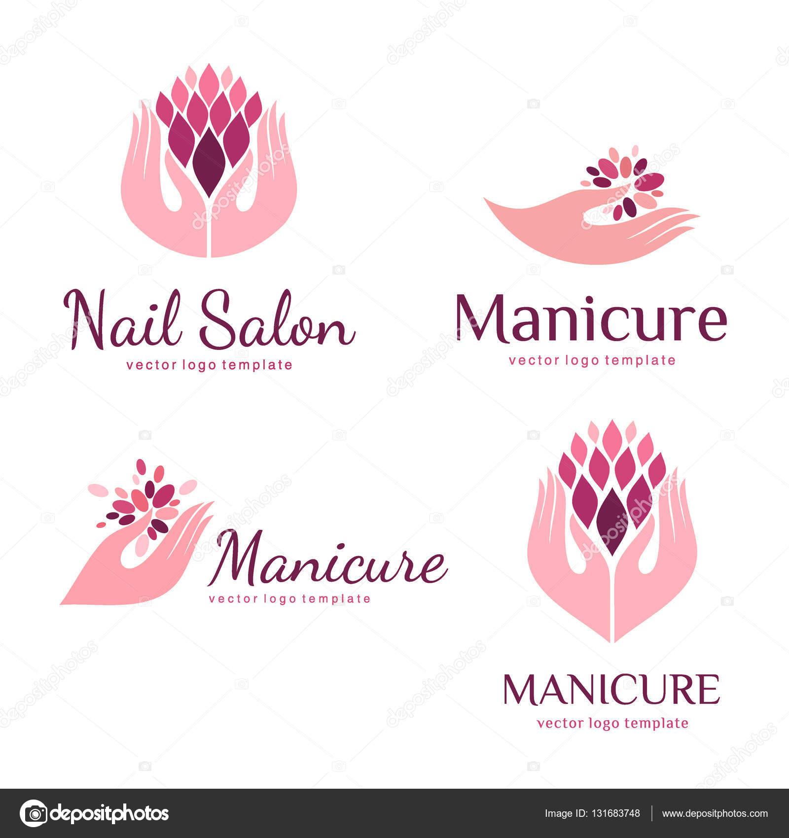 conjunto de logotipos para manicure de vetor e sal227o de