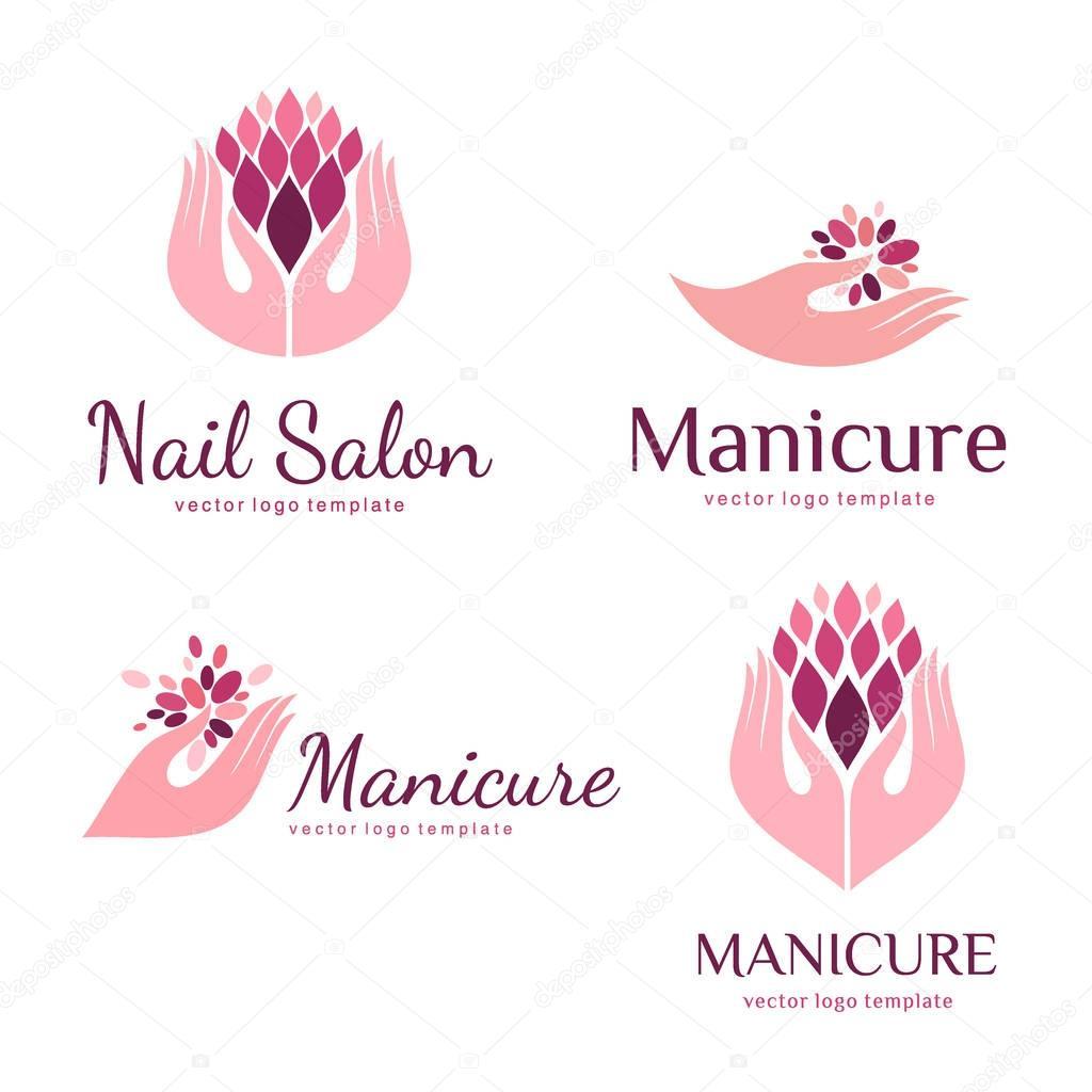 Conjunto De Logotipos Para Manicure De Vetor E Sal O De